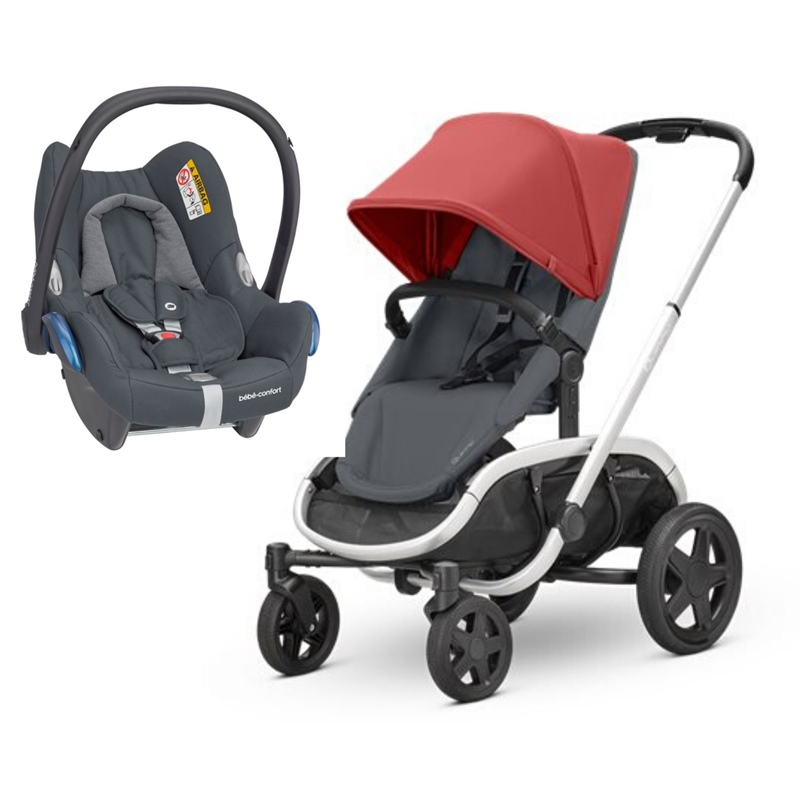 Carrinho Hubb da Quinny Red On Graphite e Cabriofix da Maxi Cosi Essential Graphite