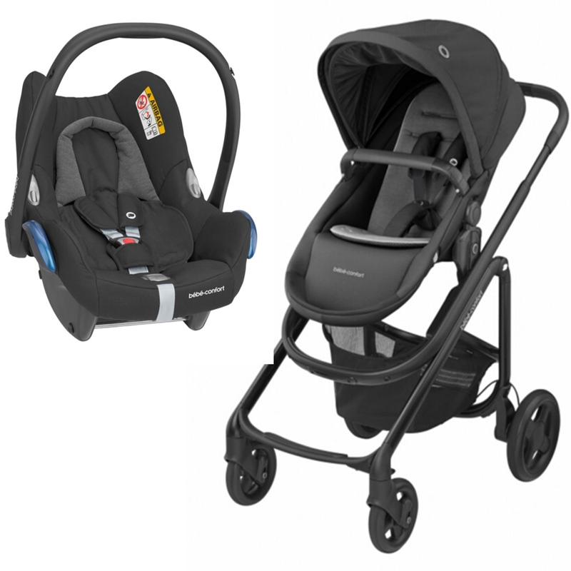 Carrinho Lila CP da BebeConfort Essential Black e Cabriofix da Maxi Cosi Essential Black