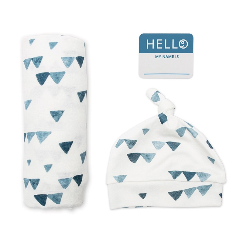 Hello World Navy Triangles Pack Swaddle e Gorro