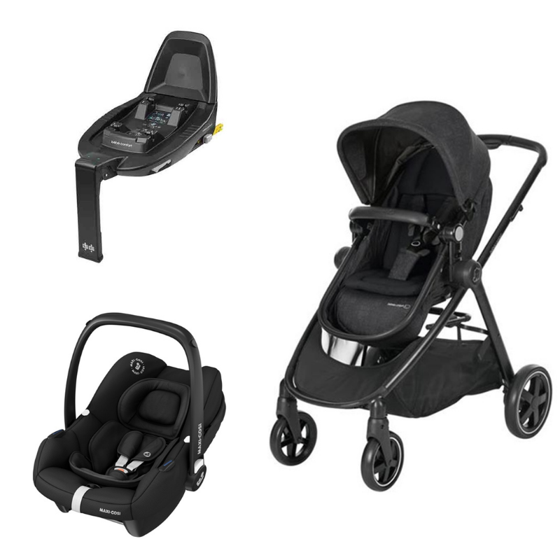 Trio carrinho Zelia Nomad Black Tinca Essential Black e base BabyFix da Bebeconfort