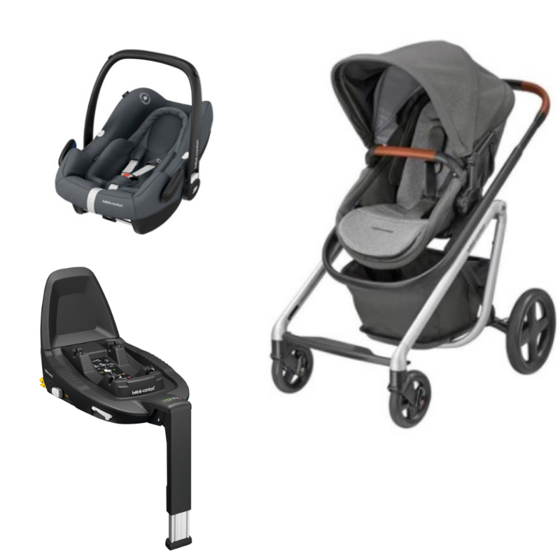 Trio Lila Nomad Grey Rock Essential Graphite e base FamilyFix2 da Bebeconfort